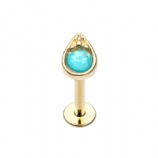 Gold Opal Tear Drop Helix Stud/Labret - 1.2mm