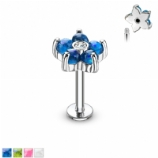 Opal Resin Crystal Flower Micro Labret Lip Helix Tragus Stud