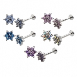 Coloured Crystal Flower Internally Threaded Labret Stud - 1.2mm