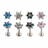 Coloured Crystal & Opal Flower Internally Threaded Labret Stud - 1.2mm
