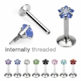 Crystal Star Internally Threaded Micro Labret Lip / Tragus Stud
