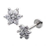 White Crystal Flower Internally Threaded Labret Stud - 1.2mm