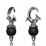 Silver Plated Brass Ornate Ear Weight - Lava Rock