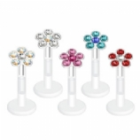 Crystal Flower Push-Fit Flexi Lip / Tragus Stud