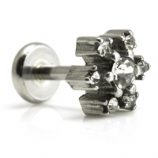 White Crystal Snowflake Christmas Helix / Tragus Labret Stud - 1.2mm