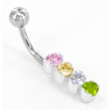 Rainbow Four Crystal Sterling Silver Belly Bar