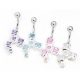 Square Crystal Dropper Sterling Silver Belly Bar