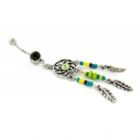 Dreamcatcher and Beaded Feathers Dangle Belly Bar