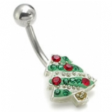 Small Christmas Tree Christmas Belly Piercing Bar