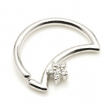 Crystal Flower Crescent Moon Sterling Silver Seam Daith Ring