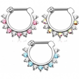 Two Tone Prong Set Crystals Septum Clicker Ring