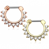 Clear Prong Set Crystals Septum Clicker Ring