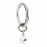 Crystal Tear Drop Dangle Charm Steel Hinged Clicker Segment Ring