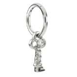 Crystal Key Dangle Charm Steel Hinged Clicker Segment Ring