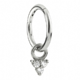 Crystal Trinity Dangle Charm Steel Hinged Clicker Segment Ring