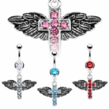 Unusual Winged Cross Crystal Dangle Belly Bar
