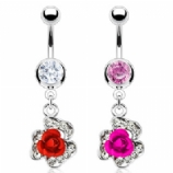 Pretty Rose Bud Crystal Surround Dangle Belly Bar