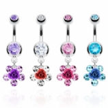 Rose & Gem Petals Dangle Belly Bar