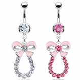 Bow Ribbon Crystal Loop Dangle Belly Bar