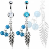 Feather & Turquoise Beads Semi-Precious Stone Dangle Belly Bar