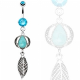 Large Turquoise Stone & Feather Semi-Precious Dangle Belly Bar