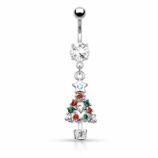Crystal Tree Christmas Dangle Belly Bar