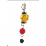 Amber & Red Bead Reverse Dangle Belly Bar