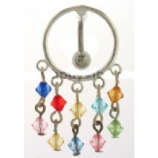 Rainbow Beads Shield Reverse Dangle Belly Bar
