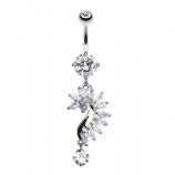 Marquise Cut Crystal Seahorse Dangle Belly Bar