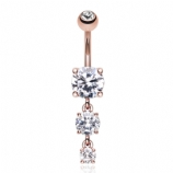 Rose Gold Plated Triple Solitaire Crystal Dangle Belly Bar