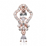 Rose Gold Plated Pear Crystal Reverse Dangle Belly Bar