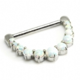 White Opal Clicker Hinged Nipple Bar