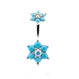 Double Turquoise Flower Belly Piercing Bar