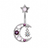 Opal and Crystal Moon Star Belly Piercing Bar