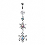 Clear/AB Crystal Double Snowflake Dangle Belly Bar