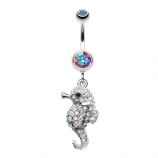 Iridescent Crystal Sparkly Seahorse Dangle Belly Bar
