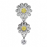 Crystal Triple Daisy Flower Reverse Dangle Belly Bar