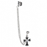 Gothic Cross Dangle Ear Cuff Lobe Piercing Chain - Only One Standard Ear Piercing Required