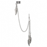 Feathers Dangle Ear Cuff Lobe Piercing Chain - Only One Standard Ear Piercing Required
