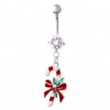 Candy Cane Christmas Dangle Belly Bar