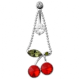 Crystal Cherry Chain Swivel Dangle Belly Bar