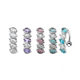 Elegant Five Oval Crystal Reverse Belly Bar