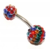 Double DiscoBall Crystal Belly Piercing Bar - Multicolour