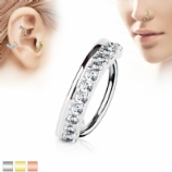 Crystal Line Half Circle Surgical Steel Hoop Ring