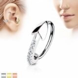 Crystal Arrow Half Circle Surgical Steel Hoop Ring