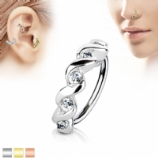 Crystal Twists Half Circle Surgical Steel Hoop Ring