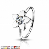 Center Crystal Flower Surgical Steel Seam Ring