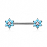 Double Turquoise Flower Forward Facing Nipple Bar