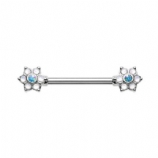 Double Opalite Flower Forward Facing Nipple Bar