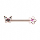 Rose Gold Butterfly and Flower Forward Facing Nipple Bar